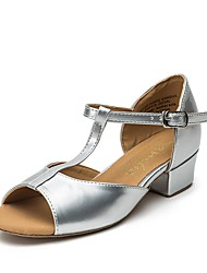 cheap -Girls' Latin Shoes / Modern Shoes Satin Flat / Sneaker Thick Heel Dance Shoes Gold / Silver