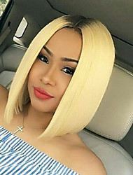 cheap -Synthetic Lace Front Wig Straight Ombre Bob Haircut / Middle Part Synthetic Hair Heat Resistant / Women / Dark Roots Ombre Wig Women's Short Lace Front Light Blonde / Yes