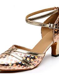 cheap -Women's Modern Shoes Synthetics Heel Slim High Heel Dance Shoes Gold / Silver / Red