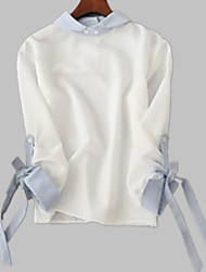 cheap -Women's Shirt - Solid Colored / Color Block Bow / Lace up / Patchwork Shirt Collar