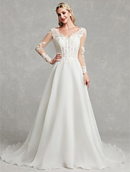 cheap -A-Line V Neck Chapel Train Lace / Tulle Made-To-Measure Wedding Dresses with Lace by LAN TING BRIDE®
