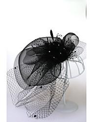 billige -Fjer / Net Blomster / Hovedtøj / Hovedsmykke med Kasket / Blomster 1pc Bryllup / Speciel Lejlighed Medaljon