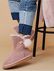 abordables -Mujer Zapatos Piel de Oveja Invierno Confort Botas Tacón Plano Negro / Marrón Claro / Rosa claro