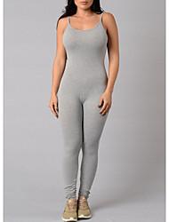 cheap -women's cotton jumpsuit - solid colored strap