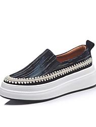 Недорогие -Жен. Обувь Овчина Лето Удобная обувь На плокой подошве На плоской подошве Круглый носок Черный / Красный