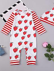 abordables -bébé Fille Actif / Basique Quotidien / Sortie Imprimé Imprimé Manches Longues Coton / Spandex Une-Pièce Rouge