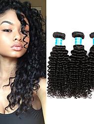 baratos -3 pacotes Cabelo Brasileiro / Cabelo da Birmânia Kinky Curly Cabelo Virgem Cabelo Humano Ondulado 8-30 polegada Tramas de cabelo humano Fabrico à Máquina Melhor qualidade / 100% Virgem Natural
