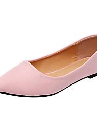 baratos -Mulheres Sapatos Camurça Outono Conforto / Bailarina Rasos Sem Salto Dedo Apontado Vinho / Amêndoa / Rosa Claro