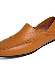 baratos -Homens sapatos Pele Outono Mocassim Mocassins e Slip-Ons Preto / Amarelo / Azul