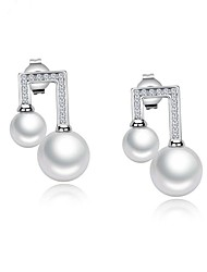 cheap -Women's Freshwater Pearl Mismatched Hoop Earrings - Gold Plated Music Notes Sweet White For Party / Daily
