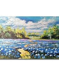 cheap -STYLEDECOR Modern Hand Painted Abstract Blue Flowers Field Oil Painting on Canvas for Wall Art
