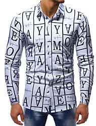 Недорогие -Муж. С принтом Рубашка Классический Контрастных цветов / Буквы