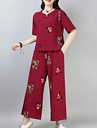 abordables -Mujer Básico Manga Farol Conjunto - Un Color, Plisado Pantalón
