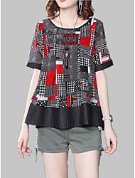 cheap -Women's Shirt - Geometric / Color Block Patchwork / Print