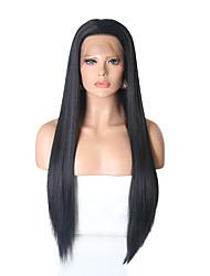Недорогие -Синтетические кружевные передние парики Прямой Стрижка каскад Искусственные волосы Жаропрочная Черный Парик Жен. Длинные Лента спереди Черный