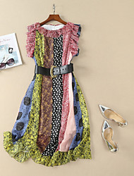 baratos -Mulheres Básico Bainha Vestido Poá / Floral Médio