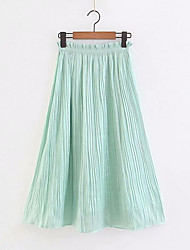 billige -Dame A-linje Nederdele - I-byen-tøj Ensfarvet Høj Talje