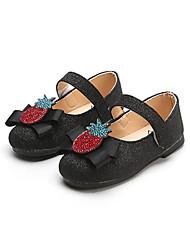 abordables -Fille Chaussures Polyuréthane Printemps été Confort / Chaussures de Demoiselle d'Honneur Fille Ballerines Marche Paillette Brillante / Scotch Magique pour Enfants Noir / Argent