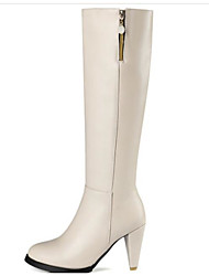 cheap -Women's Shoes PU(Polyurethane) Fall & Winter Comfort / Fashion Boots Boots Stiletto Heel Knee High Boots Black / Beige