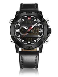 abordables -NAVIFORCE Hombre Reloj de Vestir / Reloj de Pulsera Chino Resistente al Agua / Nuevo diseño / LCD Cuero Auténtico Banda Casual / Moda Negro / Marrón