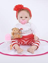 baratos -FeelWind Bonecas Reborn Bebês Meninas 22 polegada realista, Cílios aplicados à mão, Nozes vedadas e seladas de Criança Para Meninas Dom / Olhos Castanhos de Implantação Artificial / Cabeça Floppy