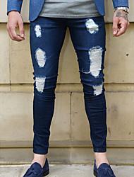 economico -Per uomo Cotone Jeans Pantaloni - Tinta unita