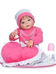 Недорогие -NPKCOLLECTION Куклы реборн Девочки 24 дюймовый Полный силикон для тела / Винил - Искусственные имплантации Голубые глаза Детские Девочки Подарок