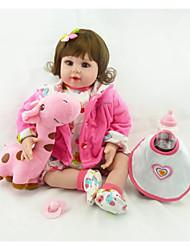 Недорогие -NPKCOLLECTION NPK DOLL Куклы реборн Девочки 24 дюймовый Подарок Музыка Искусственная имплантация Коричневые глаза Детские Девочки Игрушки Подарок