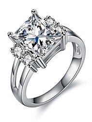 cheap -Women's Cubic Zirconia Hollow Out Ring - Platinum Plated, S925 Sterling Silver Korean 6 / 7 / 8 / 9 Silver For Gift Date