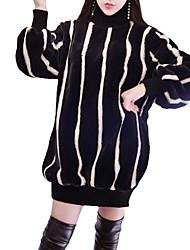baratos -Mulheres Moda de Rua Tricô Vestido Listrado Mini