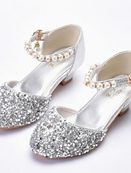 cheap -Girls' Shoes Faux Leather Spring & Summer Flower Girl Shoes Heels Pearl / Sequin for Kids Silver / Light Pink