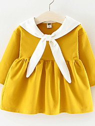 cheap -Baby Girls' Color Block Long Sleeve Dress