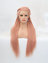 cheap -Synthetic Lace Front Wig Straight Braid Synthetic Hair Heat Resistant Pink Wig Women's Long Lace Front Wig