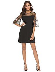 cheap -Women's A Line Dress - Floral Cut Out / Patchwork / Embroidered