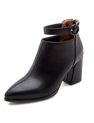 cheap -Women's Shoes Patent Leather Fall & Winter Bootie Boots Chunky Heel Pointed Toe Knee High Boots Buckle Black / Beige / Burgundy