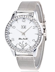 cheap -Women's Wrist Watch Chinese Chronograph / Casual Watch / Imitation Diamond Stainless Steel Band Bangle / Elegant Silver / Large Dial / One Year