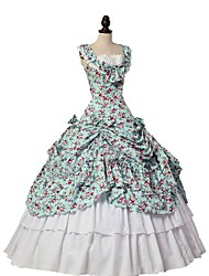 cheap -Cosplay Lolita / Victorian Costume Women's Outfits / Masquerade Blue / White Vintage Cosplay Natural Sponges Sleeveless