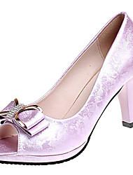 baratos -Mulheres Sapatos Couro Ecológico Verão Plataforma Básica Saltos Salto de bloco Peep Toe Laço Bege / Roxo / Rosa claro