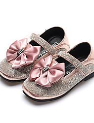 abordables -Fille Chaussures Polyuréthane Printemps été Confort / Chaussures de Demoiselle d'Honneur Fille Ballerines Marche Noeud / Paillette Brillante / Scotch Magique pour Adolescent Noir / Argent / Rose