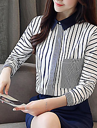 cheap -Women's Business / Basic Shirt - Striped Blue & White, Tassel / Patchwork