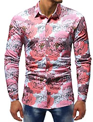 Недорогие -Муж. С принтом Рубашка Хлопок Тонкие Классический Цветочный принт / Контрастных цветов / Длинный рукав