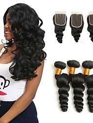 cheap -Peruvian Hair Loose Wave Gifts / Natural Color Hair Weaves / Tea Party Favors 3 Bundles with Closure 8-20 inch Human Hair Weaves 4x4 Closure New Arrival / Hot Sale / Fashion Natural Color Human Hair