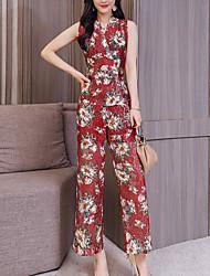 baratos -Mulheres Camisa Social Floral / Estampa Colorida Calça