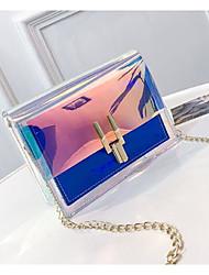 baratos -Mulheres Bolsas PVC Bolsa de Ombro Estampa Azul / Rosa / Prateado