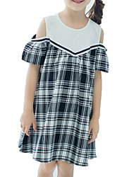 cheap -Kids Girls' Basic Black & White Check Patchwork Short Sleeve Knee-length Dress / Cotton