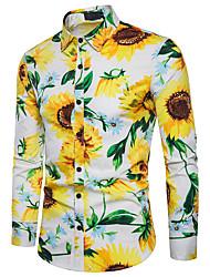 Недорогие -Муж. С принтом Рубашка Классический Цветочный принт Цветок солнца