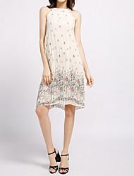 preiswerte -Damen Elegant Chiffon Kleid - Druck, Geometrisch Knielang
