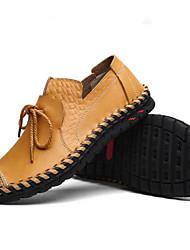 Недорогие -Муж. Кожа Лето Удобная обувь Мокасины и Свитер Черный / Желтый / Коричневый