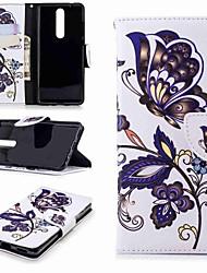 Недорогие -Кейс для Назначение Nokia Nokia 5 / Nokia 3 / Nokia 2.1 Кошелек / Бумажник для карт / со стендом Чехол Бабочка Твердый Кожа PU