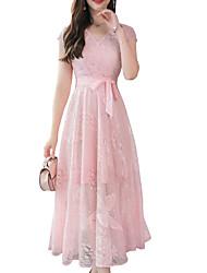 baratos -Mulheres Básico balanço Vestido - Renda / Cordões, Floral Médio